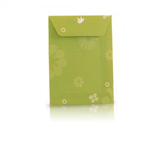 Groenkleurig loonzakje bedrukt met bloemen